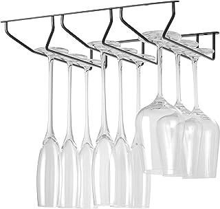酒杯架,304 不锈钢酒杯架,橱柜下方,高脚杯眼镜储物架悬挂,金属收纳架,适用于酒吧家庭和厨房装饰,平面钢设计,黑色