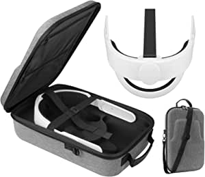 Esimen 多合一 K3 Elite 头带,适用于 Oculus Quest 2 旅行箱配件套装,舒适泡沫垫带,设计平衡重量(灰色)
