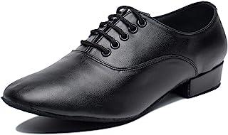 Gogodance 男式男孩专业系带黑色皮革拉丁萨尔萨探戈舞厅现代舞鞋