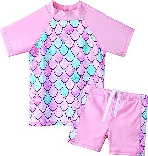 ZNYUNE 女童*服 2 件套泳衣套装 UPF 50+ UV 冲浪日光浴 儿童粉色泳衣 7-8 岁