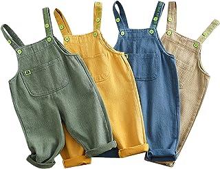 Dourbesty 幼儿女婴男孩工作服 灯芯绒基本纯色口袋秋冬围兜裤背带裤底装