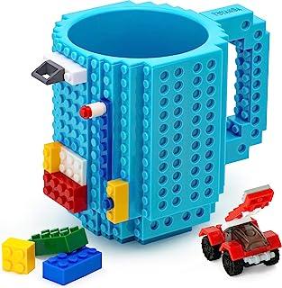 TOYAMBA Build-on Brick 马克杯 - 453.59 ml 不含 BPA 趣味咖啡杯 3 件装积木,儿童趣味杯 - 创意积木马克杯 DIY 礼物创意 浅蓝色 NCS-TMB-009