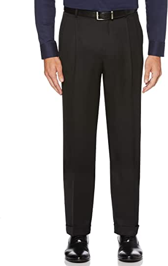 Perry Ellis 男式经典修身弹性腰双褶袖口裤, 黑色 30W x 30L