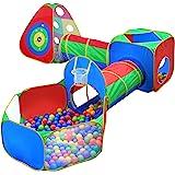 Hide N Side 5 件套儿童球坑帐篷和隧道,幼儿丛林健身房游戏帐篷,带 Play Crawl Tunnel 玩具…
