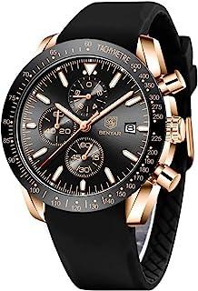 BENYAR 出品 - 男式时尚腕表 | 真皮表带 | 石英机芯 | 30M 防水防刮 | 适合各种场合的完美礼物 | 多色表带
