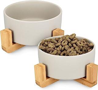 Navaris 陶瓷高架猫碗 – 凸起的双食物和水碗套装,适用于猫和小型犬,带木质支架 – 防溢出环保宠物碗 灰色 M