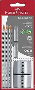 Faber-Castell 辉柏嘉 117098 书写套装 GRIP 2001,内容:3支铅笔,2个橡皮擦,1个卷笔刀,银色