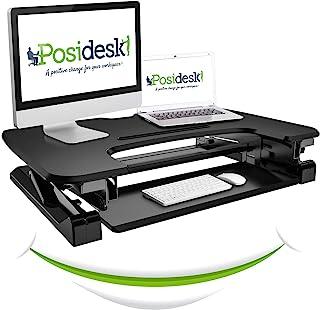 Posidesk POSI209BK 中号坐立台系统,一键式可调节高度工作台,带放大可伸缩键盘以及适用于移动设备的智能导轨,黑色