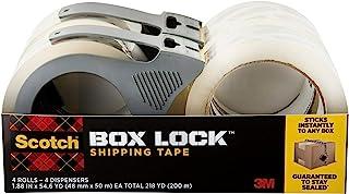 Scotch Box Lock 包装胶带,4 卷,带 4 个可重新填充分配器,1.8 英寸 x 21.5 码(约 4.8 厘米 x 54.6 厘米),极端抓握,可立即粘贴到任何盒子上