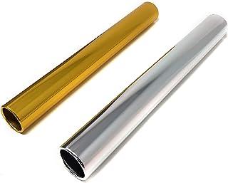 Rusoji 2 个装阳极氧化铝棒 适用于赛车、跑步、户外运动、田径继电器 金色+银色