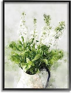 Stupell Industries 在Cacti 田野沙漠植物开花白色花卉,由 Ziwei Li 黑色带框墙艺术,16 x 20,*