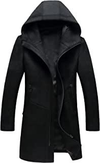 Guandoo 男式连帽羊毛外套经典中长款时尚风衣冬季修身羊毛夹克