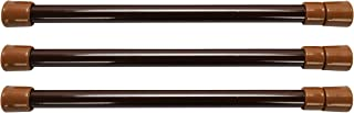 Camco 17 英寸(约 43.2 厘米)房车橱柜棒 – 3 件装,旅行时可以放置食物和饮料,防止凌乱溢出,春天加载,伸展在 10 英寸(约 25.4 厘米)至 17 英寸(约 43.2 厘米)之间 – 棕色 ( 44066)