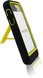 黑色黄色机器人保护套硬质柔软 2 部分保护套带支架适用于 Apple Iphone 5 5g