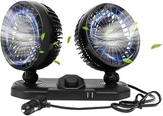 LITINIGEAR 360 度可旋转汽车风扇 12V 直流电冷却空气循环风扇 2 速双头汽车风扇带 2 个 USB 输出端口适用于 SUV 卡车 RV 船 汽车 高尔夫或家庭