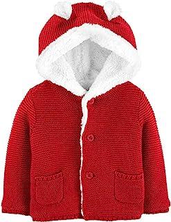 Carter's 卡特婴儿连帽开衫,人造羊羔绒衬里,3D 耳朵,18 个月,红色