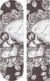 Hupery 头骨和玫瑰滑板手柄胶带长板抓带防水抓带纸贴纸甲板砂纸抓带 84.1 x 23.1 厘米