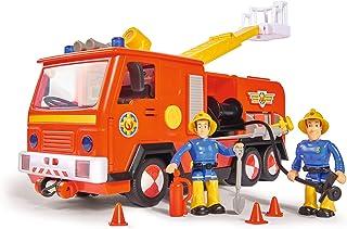 Simba 109251036 木星式消防车2.0和消防员 Sam,带有Sam和Elvis人偶,带音效和声效,带可伸缩梯子和探照灯,28厘米,适合3岁以上儿童