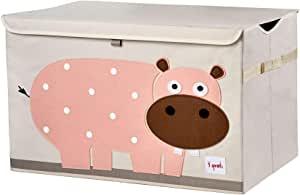 3 Sprouts 儿童玩具箱 — 大号存放,适合男孩和女孩房 河马