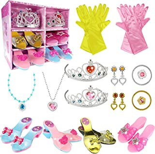 WTOR 公主装扮鞋玩具 4 双女孩塑料鞋和珠宝配饰角色扮演系列鞋套装礼物送给 3 4 5 6 7 8 岁女孩