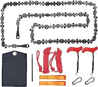 *版 53 英寸(约 139.1 厘米)高伸向树四肢手绳锯,带两条绳,两侧有 68 个锋利的齿片,折叠口袋链锯生存装备,适用于露营、狩猎、远足(137.1 厘米 68 齿型号)