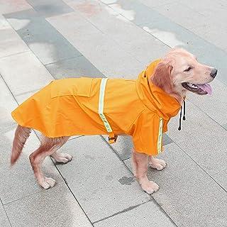 狗狗雨衣休闲防水轻型反光雨夹克带连帽衫,适合中小型犬 橙色 大