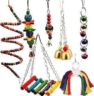 HOMEJIA 鸟咀嚼玩具 7 件宠物鸟笼玩具鸟绳鸟秋千爬架玩具适合小长尾鹦鹉、阳具、虎皮鹦鹉、鹦鹉、爱鸟、迷人