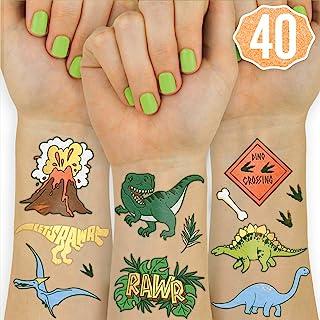 Xo, Fetti 恐龙儿童临时纹身贴 - 40 种款式   生日派对用品,恐龙派对礼品,霸王龙装饰