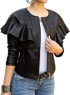 Lovecarnation 女式性感短外套夹克拉链长袖褶皱人造革 PU 夹克
