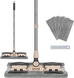 JR-MOV 专业超细纤维硬木地板拖把套装,不锈钢手柄平板灰尘拖把,带 5 个可重复使用可水洗拖把垫和梳子,干湿平清洁拖把,适用于木材、层压板、乙烯基、厨房