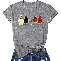 Chicken Mom 可爱 T 恤女式短袖农场乡村休闲 T 恤上衣