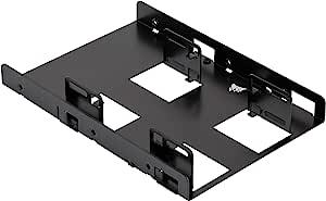 CORSAIR 海盗船 SSD 安装框架(双驱动器,适用于 2 x SSD 6.4 厘米(2.5 英寸)8.9 厘米(3.5 英寸)黑色(CSSD-BRKT2)