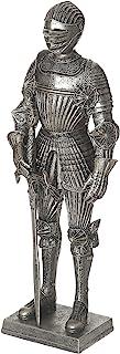 Haytijoe 全装甲欧洲中世纪骑士雕像,带头盔和剑,13 英寸(约 33.0 厘米)高青铜黄铜材料用于装饰和礼物(骑士)