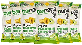 Barnana Organic Plantain Chips - Acapulco Lime- 5 Ounce, 6 Pack - Salty, Crunchy, Thick Sliced Snack - Best Chip For Your ...