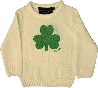 Other Brands 圆领爱尔兰儿童毛衫,带蓬松三叶草,奶油色