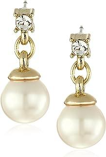 Anne Klein 金色珍珠和水晶线性耳坠