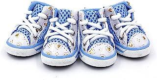 CZXJKKL 狗鞋,防滑弹性透气网眼轻质狗爪防护靴宠物鞋小狗靴运动鞋短靴适用于中小型犬(#1,蓝色)