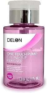 DELON LABORATORIES 眼部卸妆液防水无泄漏优质泵,透明无色无色,5.91 盎司
