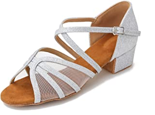 CLEECLI 低跟交际舞鞋 拉丁萨尔萨舞鞋 适合社交初学者练习跳舞 3.81 cm 鞋跟 ZB14