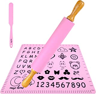 擀面杖和糕点垫套装 - 不粘硅胶擀面杖,适用于烘焙面团卷(17 英寸(约 43.2 厘米)大号)
