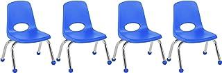 Factory Direct Partners 10 英寸(约 25.4 厘米)学校堆叠椅,堆叠学生座椅,带镀铬钢腿和滚珠滑梯;适用于家庭学习或课堂 - 蓝色(4 件装) (10377-BL)