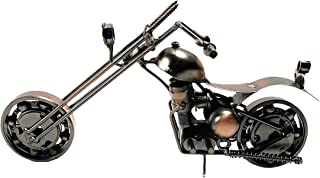 金属摩托车工业自行车手切碎机办公室桌雕塑 9 英寸复古再生金属经典手工铁螺栓螺母摩托车独特男人洞艺术装饰自行车链(M2 铜)
