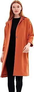 Charis Allure 女式休闲风衣翻领前纽扣经典中长款外套夹克,橙色