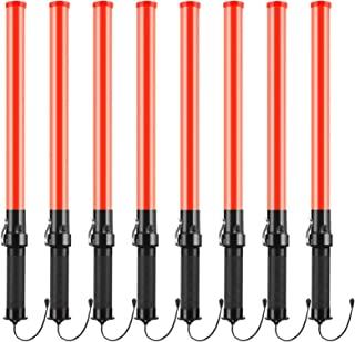 8 件 21 英寸信号交通棒*交通控制棒点亮警棍多功能LED交通棒带2个闪烁模式的腕带挂绳,侧夹适用于户外露营停车场