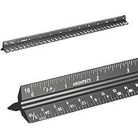 建筑规模尺(激光蚀刻)实心铝芯  12 英寸(约 30.5 厘米)三角建筑师标尺,带帝国测量
