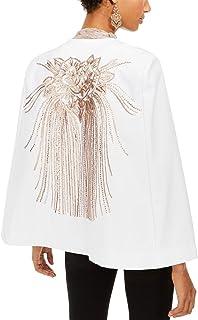INC International Concepts 女式亮片装饰后披肩白色 S 码