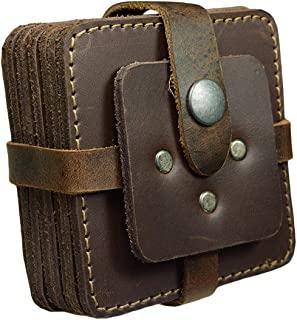 Hide & Drink,厚皮革复古方形杯垫带支架(8 件装),桌垫,家居和办公室配件,手工制作包括 101 年保修:波本棕色