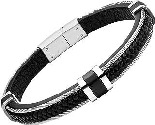 555Jewelry 磁性闭合扭绳和编织皮革手链 男式