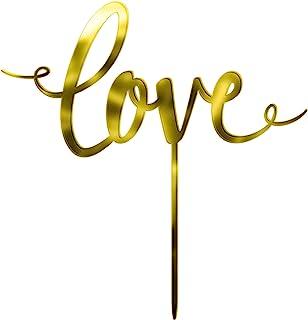 """Love"" 金色蛋糕装饰,6.5 x 4.25 英寸(约 16.5 x 10.8 厘米)"