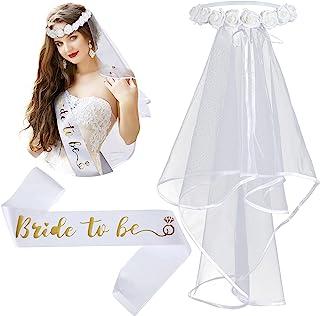 新娘面纱波西米亚花皇冠面纱新娘淋浴面纱单身派对腰带缎带单身女郎派对订婚派对装饰派对配饰